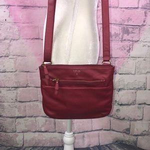Fossil Tessa Top Zip Crossbody Bag In Red Velvet